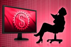 Business woman and Tft monitor Stock Photo