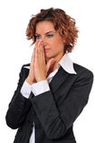 Business Woman Thinking. Of a business plan or idea, with her palms touching each other, near her face Stock Photos