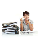 Business woman thinking Royalty Free Stock Photography