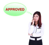 Business woman thinking about approved Royalty Free Stock Photography