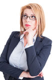 Business woman thinking. Beautiful business woman thinking and looking up for a new great ideea Stock Photo