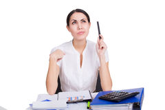 Business woman thinking Royalty Free Stock Photo
