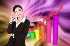 Business woman thinking with business graph Royalty Free Stock Photos