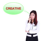 Business woman thinking about creative Royalty Free Stock Photos