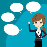 Business woman thinking with a empty speech bubble over her head Royalty Free Stock Photo