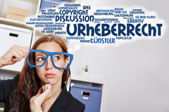 Business woman thinking in German Stock Photo