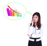 Business woman thinking about goal and graph Stock Photo