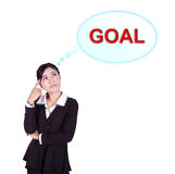 Business woman thinking about goal. Isolated on white background Vector Illustration