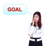 Business woman thinking about goal Royalty Free Stock Photos