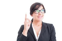 Business woman thinking and having a bright idea Stock Photo