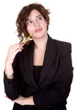 Business woman thinking of ideas Royalty Free Stock Photos