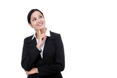 Business woman thinking isolated on white Stock Photos