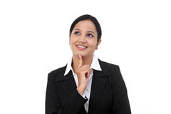Business woman thinking isolated on white Stock Images