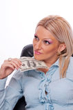 Business woman thinking about money Stock Images