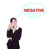 Business woman thinking about negative thinking Royalty Free Stock Images
