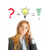 Business woman thinking about new ideas Stock Photography