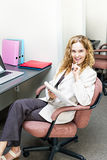 Business woman thinking at office desk Royalty Free Stock Photography