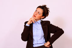 Business woman thinking pose Stock Image