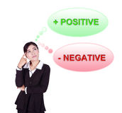 Business woman thinking about positive and negative thinking royalty free stock photography