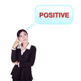 Business woman thinking about positive thinking. Isolated on white background Royalty Free Stock Photos