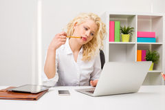 Business woman thinking about problem solving stock image