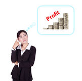 Business woman thinking about profit and coin graph Royalty Free Stock Photography