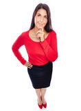 Business Woman thinking. Woman In Red looking up, thinking, Concentrating Royalty Free Stock Image