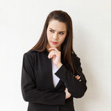 Business woman thinking with stress Stock Photos