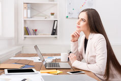 Business woman thinking about successful strategy Stock Images