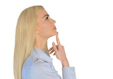 Business woman thinking up Royalty Free Stock Photo