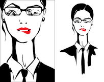 Business woman thinking about vacation. Business woman is dreaming about vacation, biting her lip. In her glasses reflection of the summer, the sea, the palm royalty free illustration