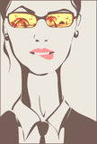 Business woman thinking about vacation 2. Business woman is dreaming about vacation, biting her lip. In a reflection of her sunglasses summer, sea, palm trees stock illustration