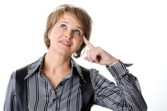 The business woman thinks. On a white background royalty free stock image
