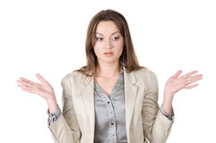 Business woman thinks and looks for the answer Royalty Free Stock Image