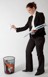 Business woman throwing papers Royalty Free Stock Photos