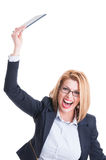 Business woman throwing tablet Stock Photos