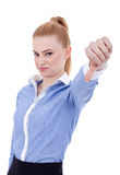 Business woman with thumb down gesture Stock Photos