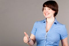 Business woman thumb up Stock Images