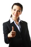 Business woman with thumb up Stock Images