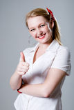 Business woman with thumb up. Royalty Free Stock Images