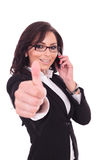 Business woman thumb up & phone Royalty Free Stock Photography