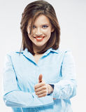 Business woman thumb up show Royalty Free Stock Images