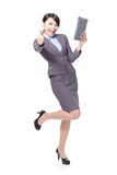 Business woman thumb up with tablet pc Royalty Free Stock Image