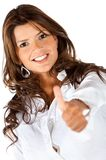 Business woman with thumbs-up Stock Photography