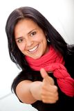 Business woman with thumbs-up Stock Photo