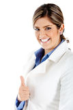 Business woman with thumbs up Royalty Free Stock Images