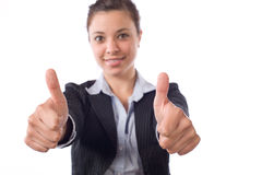 Business woman thumbs up Stock Photo