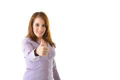 Business Woman Thumbs Up. Excited business woman with thumbs up for success looking straight Royalty Free Stock Photos