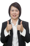 Business woman with thumbs up gesture Royalty Free Stock Photo