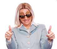 Business woman with thumbs up gesture Stock Images